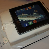 Ipad Grooms Cake This cake was a total surprise for the groom from his bride. The cruise ship was what they were going on for their honeymoon. The bride...
