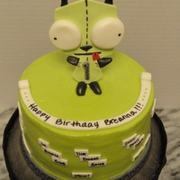 Gir Cake (From Invader Zim Cartoon) I got a request for a character cake.... His name is Gir. For those who have seen the cartoon Invader Zim, he is an alien dressed up in a...