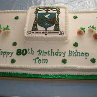 Bishop Tom's 80Th Birthday Cake Buttercream frosted with fondant letters and candy shamrocks