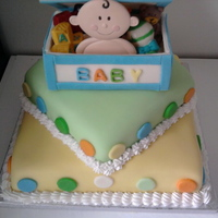 "Chrissie's Baby Shower Cake All fondant covered. Toys are candy. Used white chocolate to ""glue"" lid on toy box"