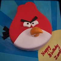 Angry Bird Cake An Angry Bird flying through the air to wish the birthday boy a fun day. This was red velvet with cream cheese frosting and fondant...
