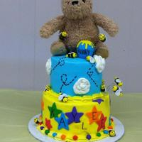 Winnie The Pooh Baby Shower The client already had the bear for the top~ It was a lot bigger than I expected but still turned out pretty cute :)