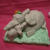 One Tired Mama! This was my first attempt with Butter Clay. After covering the cake, the Mama elephant (who was originally standing) started sitting down....