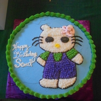 Hello Kitty For Scout! This was our first Hello Kitty cake. The customer didn't want any fondant so it's all buttercream.