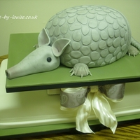 Armadillo Wedding Cake  Made for a lovely couple who keep armadillo's as pets! Armadillo carved from rich chocolate cake and large serving cake is vanilla...