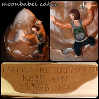 Keep Climbing   Chocolate mud cake with vanilla BC filling, covered in MMF. Gumpaste climber, painted snow.