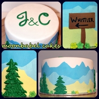 Whistler Bound!  Wedding shower cake for couple getting married in Whistler. Chocolate cake with cream cheese BC filling and chocolate ganache. MMF and...