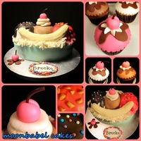 With A Cherry On Top!  Chocolate, strawberry and vanilla cake and cupcakes decorated for an icecream themed birthday party. All edible MMF decorations (banana was...