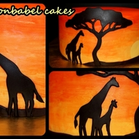 African Sunset   Gluten free vanilla cake with lemon buttercream. MMF and handpainted decoration