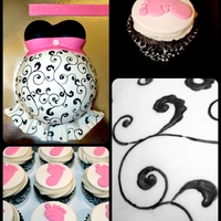 G'bye Tummy! Chocolate fudge cake and cupcakes, with chocolate ganache and vanilla buttercream filling. Coated in MMF. Scroll work is edible ink and...