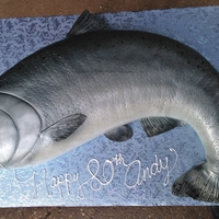 Salmon Cake   Birthday cake for avid fisherman. additional photos show airbrush progression. Large cake, fed 80+ cake board is full sheet cake size