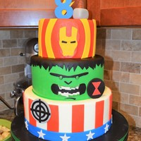 Avengers Birthday Cake Avengers birthday cake for a little boy turning 8! Inspired by the many CC avenger cakes but mainly, Sweet Designs by Jessica and Chocolate...