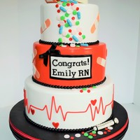 Nursing School Graduation Cake This cake was made for my sister who graduated nursing school and passed her exam and officially became an RN! The hat, pill bottle and...