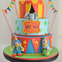 Circus Birthday Cake  This circus cake was for a brother and sister turning 3 and 4 years old!! The cakes are covered in marshmallow fondant. Tylose powder was...