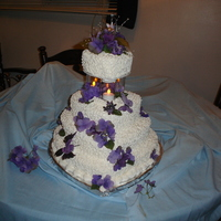 Hydranga Wedding Cake Made for a lady I work with, her favourite colour is purple, so we went with silk hydranga's.