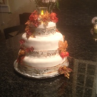 Birch Bark Wedding Cake Fall wedding, with Birch Bark trim, silk flowers