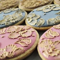 Gold Thread Brush embroidered cookies painted with gold luster dust