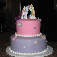 "My Little Pony 9"" & 6"" round covered in fondant and fondant decorations except the pony. My first attempt at making a rainbow out of fondant..."