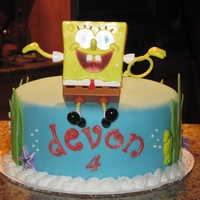 "Single Tier Sponge Bob 8"" round covered in fondant and fondant decorations. Sponge bob was a cake kit that I bought from the bakery at Walmart."