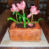 Parrot Tulip And Aged Terra Cotta Planter Pink Parrot Tulips with Aged Terra Cotta Planter - Inside is Ron Ben Israel White Cake with Blackberry Buttercream and Margaret Braun...