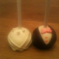 Wedding Cake Pops   I made these bride and groom cake pops for my parents wedding anniversary