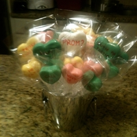 Valentine's Cake Pops I made this cake pops to ask my boyfriend to Prom! I then arranged them in a bucket, and each cake pop has a different message on it