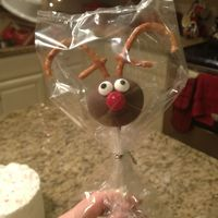 Christmas Cake Pops  This Rudolph/reindeer cake pop is made of chocolate fudge cake with peanut butter frosting and then dipped in milk chocolate with pretzels...