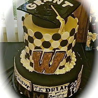 Black And Gold Graduation Cake With Graduation Cap Topper Black and Gold Graduation Cake with Graduation Cap topper