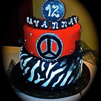 Red And Black Zebra Peace Birthday Cake Red and Black Bling Zebra and Peace