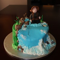 Fly Fishing Red velvet with cream cheese icing, fondant & gumpaste. Enjoy!