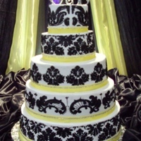 Wedding W/ Damask 5 tier all buttercream