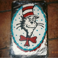 Cat In The Hat Hand drawn with buttercream frosting for my sons 4th birthday.