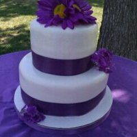 Purple Daisys A small wedding cake i did for a couple who just wanted something to cut ceremoniously. thought it turned out pretty cute :)