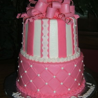 "Pink Sweet 16 Customer wanted ""pink"" for a sweet 16 & no other request. All buttercream with fondant stripes & fondant/gumpaste bow...."