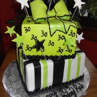 30Th Birthday buttercream except fondant stripes/fondant stars/fondant bow