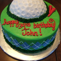 Golf Themed Birthday Cake all edible. chocolate cake with peanut butter filling