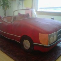 Mercedes 450Sl Chocolate cake with ganache covered in fondant.