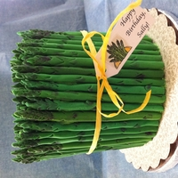 "Asparagus Cake Inspired by Sweetapolita, thank -you for the tutorial! 6"" cake surrounded by 49 pieces of fondant asparagus. Top has over 200 pieces..."