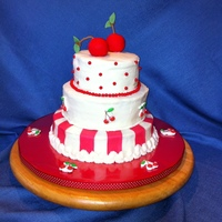 Cake With Cherries Birthday cake for my mom who loves cherries. I used Wilton Sugar Sheets for the red stripes. I didn't care for them. I thought they...