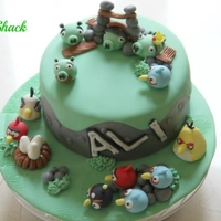 Angry Bird Cake!! this was my son's birthday cake, he is a big fan of angry birds. Its a chocolate cake with chocolate ganache!!