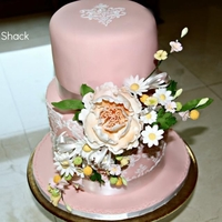 Damask Stencilled Wedding Cake this was my first gumpaste peony flowers, it was a great fun doing them. And what made this cake special to me is that it was for my...