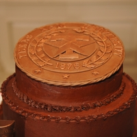 Texas A&m Seal This groom's cake was a kahlua fudge cake with a brown sugar and almond crust and then covered in chocolate buttercream. The Texas A&...