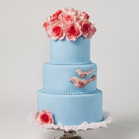 Teal And Pink Wedding Cake My first cake to be published! This appeared in Cake Central Magazine as part of the teal and pink theme. I sculpted and painted the...