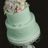 Seafoam Green Cake For Mother's Day Tone on tone seafoam green cake with gumpaste flowers.