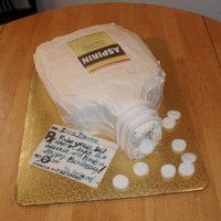 "Aspirin Bottle Cake White cake, fondant decorations, lable printed on edible paper. It was made for a boss ordered by her employees who she always said ""..."