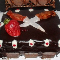 Hershey Lovers Cake Double fudge cake with fudge icings, mini- hershey bars as decoration, and findant knives piercing a fresh strawberry. Made with a slight...