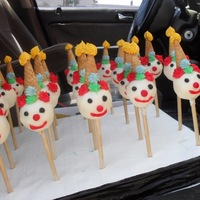 "Clown Cake Pops! Cake pops made from chocolate/chocolate and dipped in white chocolate with frosting accents, waffle cone hat, and ""red hot candy&quot..."