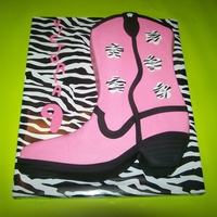 Pink Cowboy Boot Cowboy boot carved from 12x18 sheet - iced in buttercream with fondant accents - added zebra print accents to tie in the cakeboard
