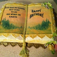 Bible Cake wilton book pan covered in buttercream. Book cake with edible images