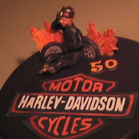 Harley Cake   Harley cake with flames and motorcycle figure